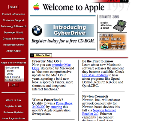 Apple website 1990s
