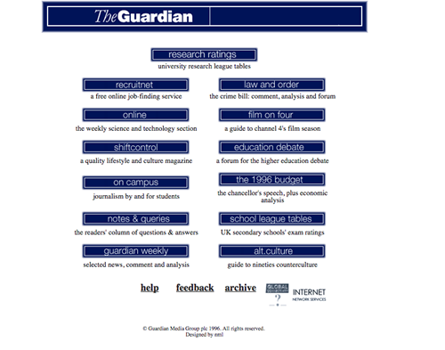 The Guardian website 1990s