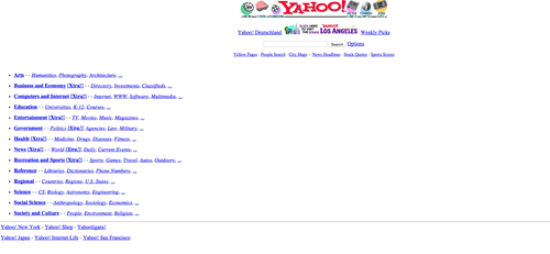 Yahoo website 1990s